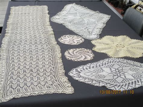 six table cloths lot of six retro table cloths made from knit work