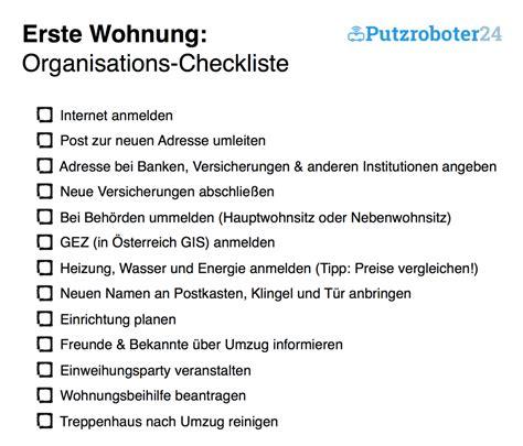 checkliste für die erste eigene wohnung erste wohnung checklisten f 252 r den umzug organisation