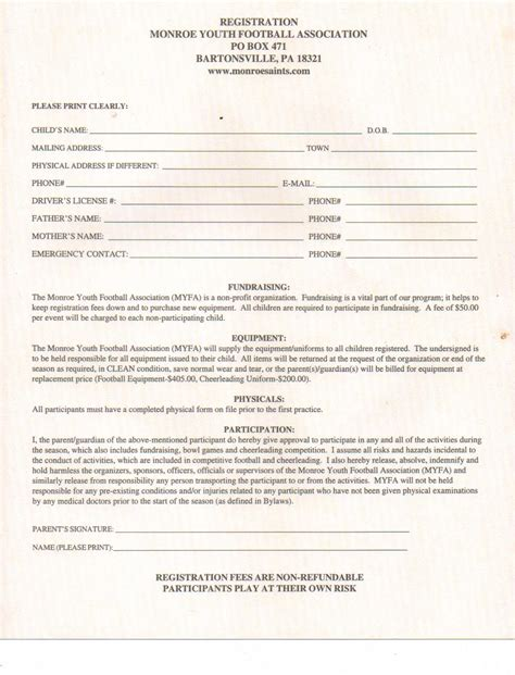 football registration form template saints youth football association and cheerleading