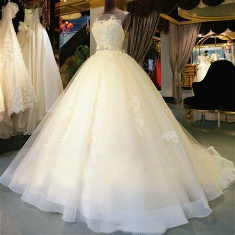 aliexpress wedding dress organza lace floor length ball gown wedding dress chapel