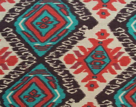 aztec print upholstery fabric cotton fabric print aztec tribal ikat style print in