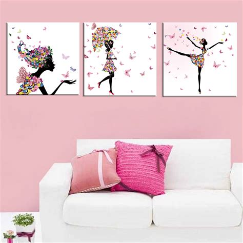 home decoration accessories wall art dancing girl oil painting butterfly wall poster canvas art