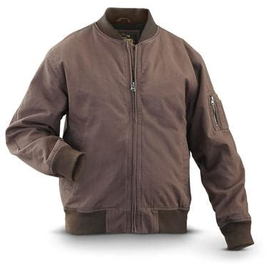 Jaket Bomber Marsmellow Kanvas Army guide gear 174 canvas bomber jacket brown 297189 insulated jackets coats at sportsman s guide