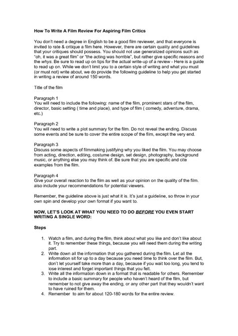 pattern writing movie review writing a film review