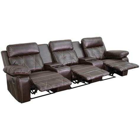 black or brown leather reclining theater sectional home flash furniture reel comfort series 3 seat reclining brown