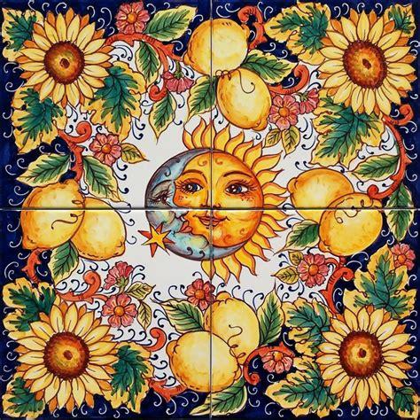 piastrelle 40x40 pannello in ceramica sole e girasoli 40x40 cm