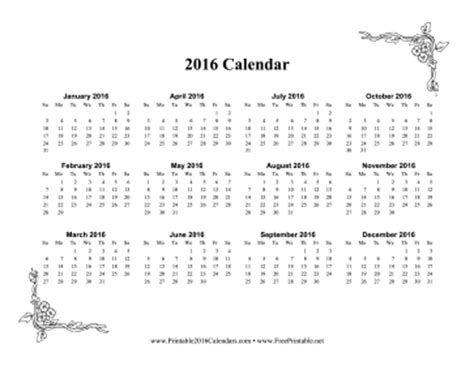 printable calendar 2016 single page printable 2016 one page calendar with flowers