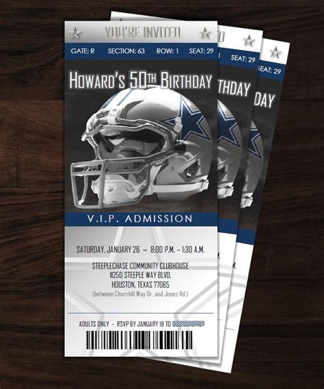 dallas cowboy ticket style invitation designs by de awn