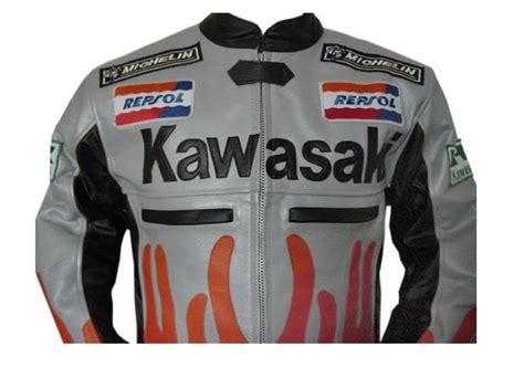 Motorrad Lederjacke Eng by Kawasaki Flamme Stil Motorrad Lederjacke