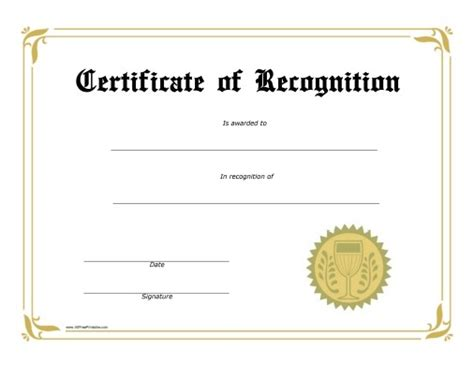 certificates of recognition free printable