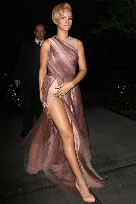 rihanna hip split jasmine di milo dress fashionising com