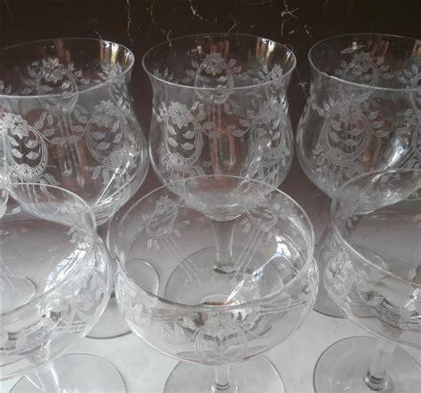 antique vintage art glass crystal glasses stemware 1910s etched crystal stemware antique transitional tlc