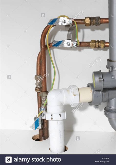 Kitchen Sink Pipe Earth Bonding Wires And Copper Pipes Kitchen Sink Stock Photo Royalty Free Image