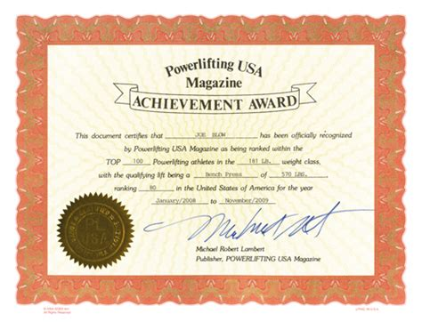 Are Certificates Record Powerlifting Usa Magazine Shop