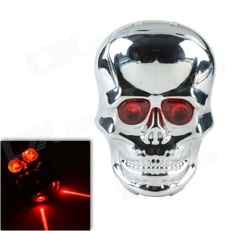 Sh086 1 6 Mode 2 Led Red Light Skull Shape Bicycle Tail Skull Lights