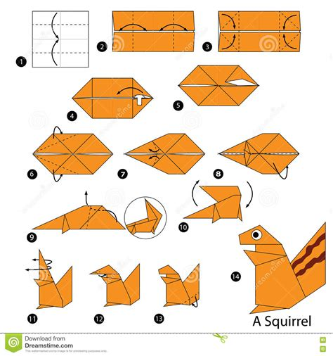 How To Make A Paper Animal - step by step how to make origami a squirrel