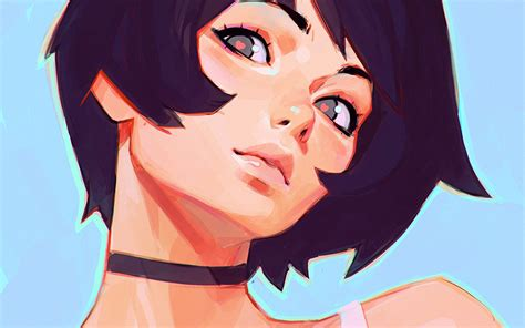 az girl face ilya kuvshinov illustration art wallpaper