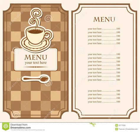 Menu For Cafe Stock Photography   Image: 23771592