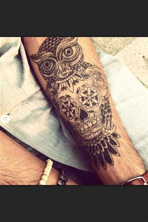 tattoo owl on arm owl tattoo on arm half sleeve pinterest owl skull