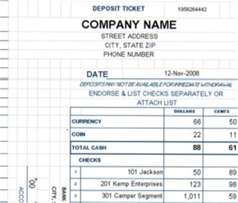 bank deposit log template deposit ticket template excel templates