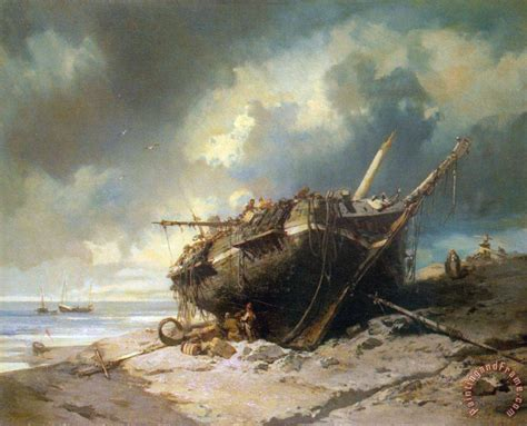 sinking boat robben island charles hoguet dismantling a beached shipwreck painting