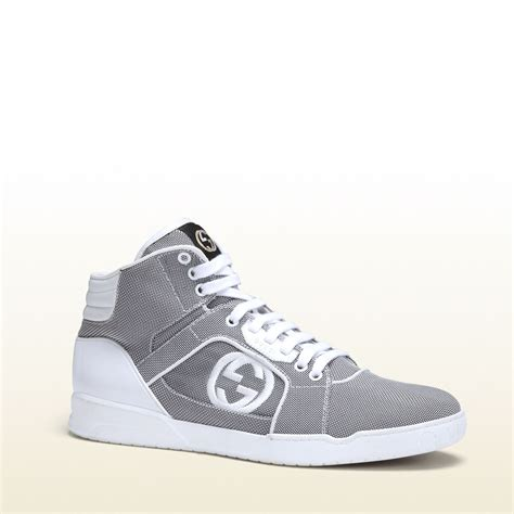 gucci sneakers mens gucci mens shoes silver gray high top sneaker ggm3503