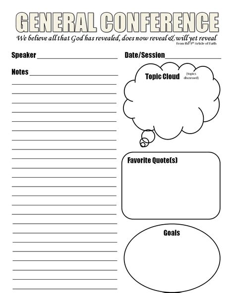 Note Sheet Template by Strong Armor General Conference Notes Template
