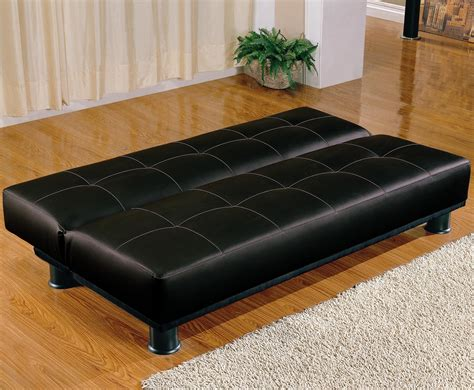 convertible futon sofa bed coaster black faux leather armless convertible sofa bed 300163