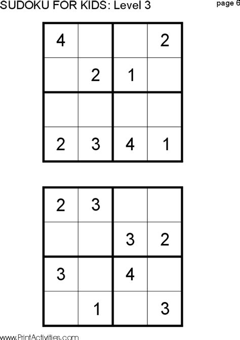 easy printable sudoku puzzles for 6 year olds kids