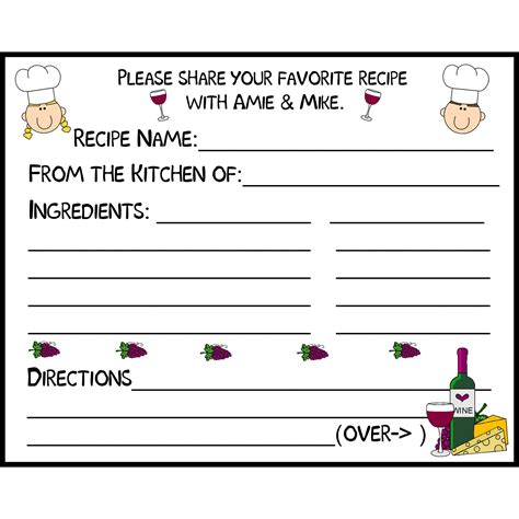 recipe for friendship template 50 personalized bridal shower recipe cards wine theme