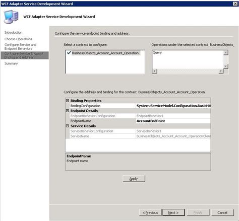 an endpoint configuration section for contract step 1 publish the siebel business component operations