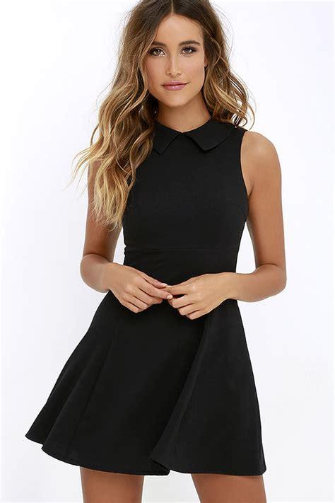 cute black dress fit  flare dress collared dress