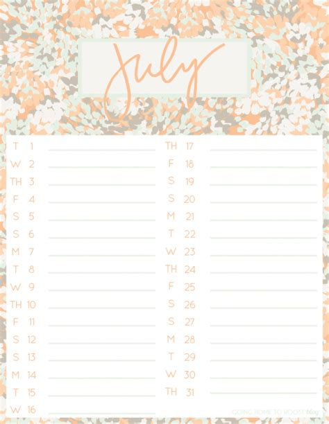 printable monthly calendar iphone july desktop iphone calendars going home to roost
