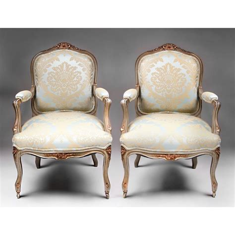 Louis 15th Chairs by Pair Of 19th C Painted Louis Xv Fauteuils A La Reine Or