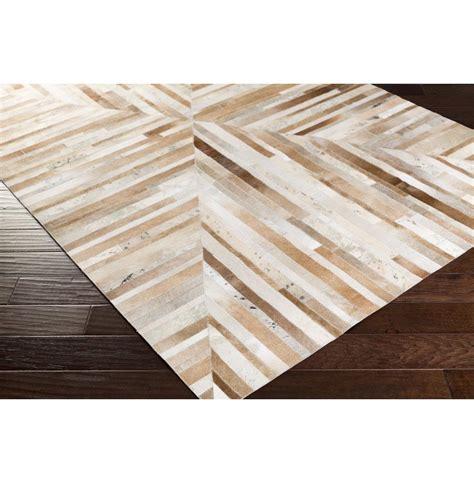 Geometric Cowhide Rug Jakarta Global Bazaar Geometric Stripes Brown Beige