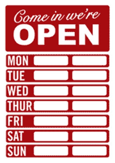 Opening Hours Template Image Gallery Open Hours Template
