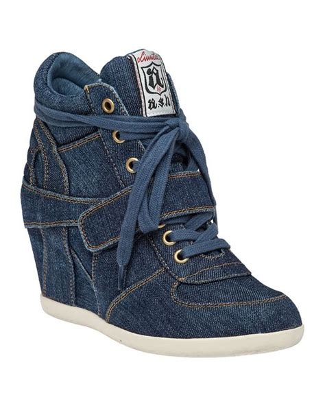 Sneaker Wedges Ash Denim ash bowie wedge sneaker denim in blue denim save