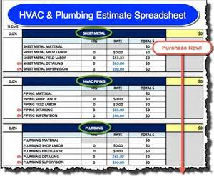 hvac plumbing estimate spreadsheet