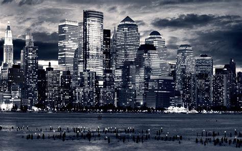 black and white wallpaper of new york new york city skyline at night wallpaper