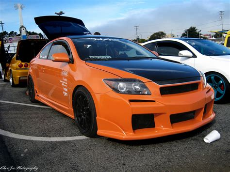 Scion Tc Black And Orange by Custom Scion Tc In Orange With Black And Wheels