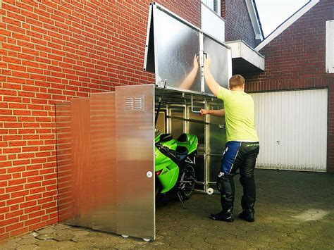 Motorcycle Shed Retractable Motorcycle Shed The Awesomer