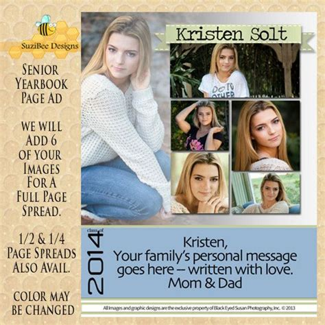 senior ad template yearbook ad template high school senior middle