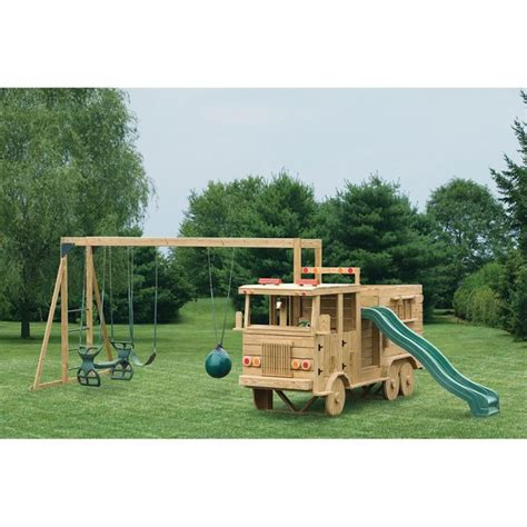 amish swing set amish made 13x4 ft wooden fire truck playground set with