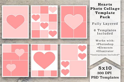 8x10 Heart Photo Collage Templates Templates On Creative Market Photo Collage Cards Templates