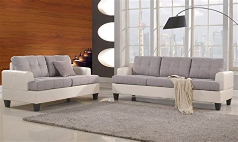 Linen Fabric Sofa Set Living Room Furniture Couch Velvet | classic 2 tone linen fabric and bonded leather sofa and