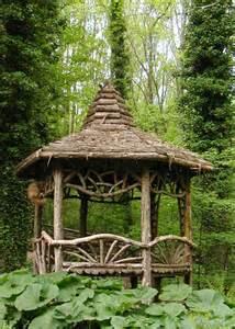 Rustic Gazebo building woodland garden ideas photograph rustic gazebo de