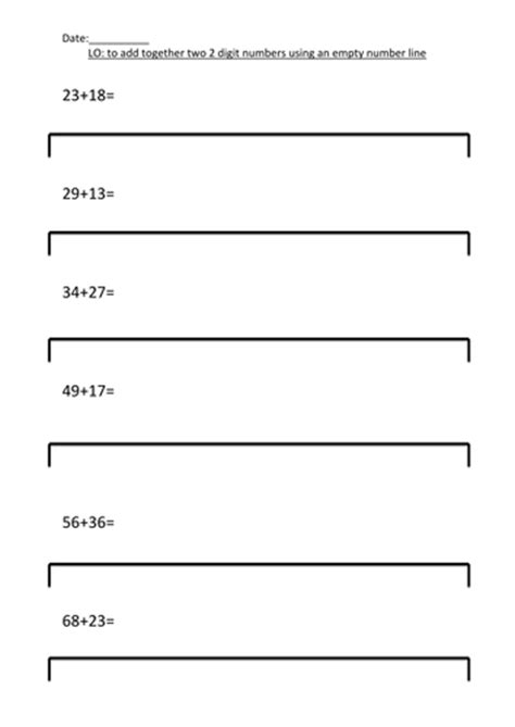 printable number line tes addition 187 addition worksheets using partitioning free