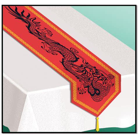 nappe blanche et chemin de table chinois asiatique