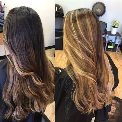 before and after ombre balayage on dark brown color treated hair balayage highlights dark hair before and after