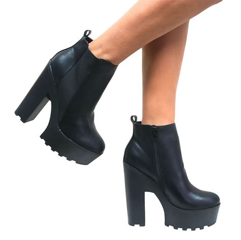 pictures of high heel boots womens chunky cleated tractor sole platform high